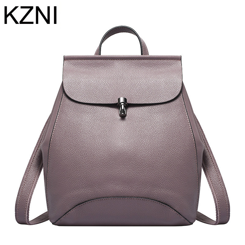 KZNI Genuine Leather Purse Crossbody Shoulder Women Bag Female Backpack Sac a Main Femme De Marque  L111308 kzni genuine leather purse crossbody shoulder women bag clutch female handbags sac a main femme de marque l123103