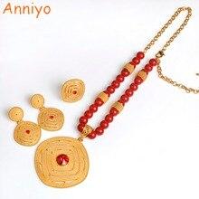 Anniyo nowy etiopski czarny/czerwony/zielony naszyjnik z koralików kolczyki pierścień kobiety afryki różaniec łańcuch biżuteria erytrea prezent ślubny #070806