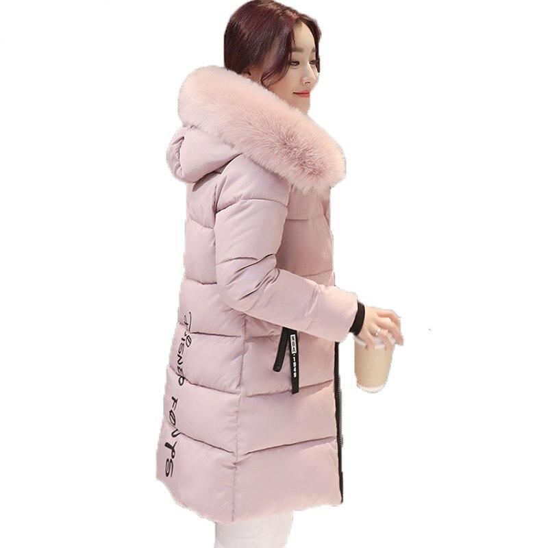 2017 새로운 대형 모피 칼라 겨울 코트 여성 레터 슬림 두꺼운 따뜻한 코튼 파커 중형 후드 casaco feminino inverno-에서파카부터 여성 의류 의  그룹 2