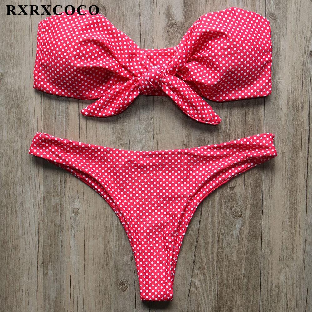 RXRXCOCO Nuevo 2018 Bikini Dot impreso Bandeau traje de baño mujeres Push Up acolchado arco traje de baño Sexy bajo la cintura Biquinis Badpak