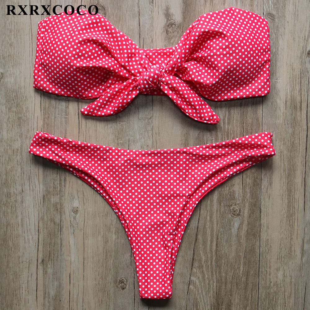 RXRXCOCO <font><b>New</b></font> <font><b>2018</b></font> <font><b>Bikini</b></font> Dot Printed Bandeau <font><b>Swimwear</b></font> <font><b>Women</b></font> <font><b>Push</b></font> Up Padded Bow Swimsuit <font><b>Sexy</b></font> <font><b>Low</b></font> <font><b>Waist</b></font> Biquinis Beachwear Badpak image