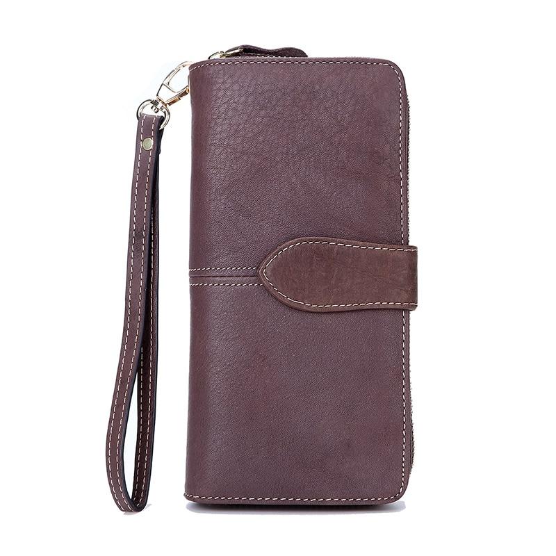 Men Genuine Leather Clucth Wallets Male Long Cowhide Leather Wristlet Purse Vintage Women Coin Bag Purse Wallet