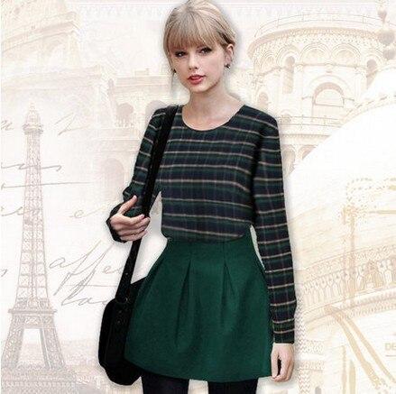 469ae74bd0 European Dark Green Pladi Check Sweatshirs Skirts Suit Women's Sets Long  Sleeve Tops Skirt Suit-in Women's Sets from Women's Clothing on  Aliexpress.com ...
