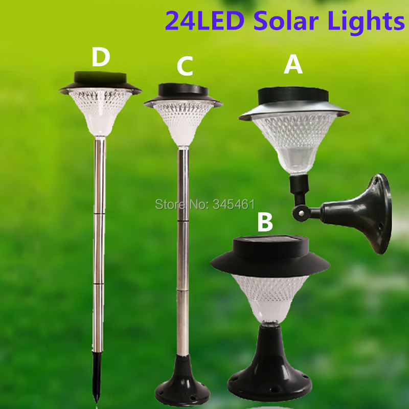 ФОТО New &Super bright 24leds Solar lights Decor garden lamp Solar street light Outdoor led Lawn Light A/B/C/D 4 Options For Sale