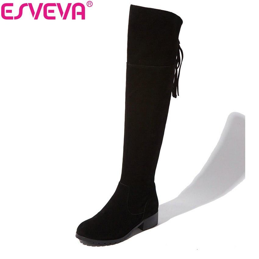ESVEVA 2018 Black Winter Warm Ladies Shoes Women Riding Boots Cow Leather + Scrub Fringe Square Heel Knee High Boots Size 34-39 esveva 2018 winter women boots over knee high boots real leather scrub boots square heels short plush ladies boots size 34 39