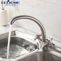 LEDEME Solid Brass Chrome Water Kitchen Faucet Kitchen Sink Faucet 360 Degree Swivel Taps Kitchen Faucets