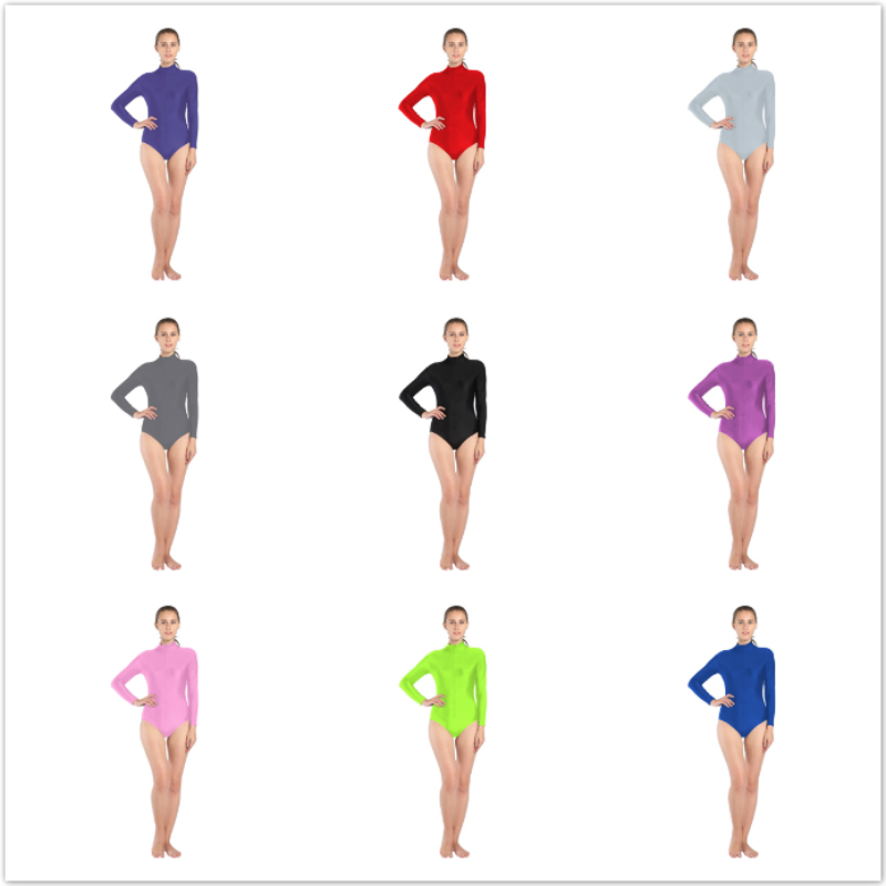 23 colors Women Ballet Gymnastics Leotard Long Sleeve Spandex Lycra High collar Dance wear zipper in front adult Leotards