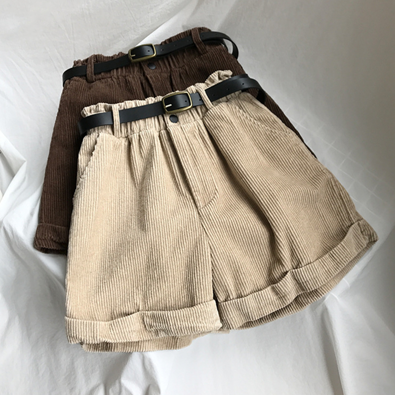 2018 Autumn Winter Women's Casual   Shorts   High Waist Solid Thick Corduroy   Shorts   Femme Belt Elastic Waist Basic   Shorts   Pockets