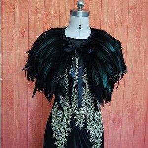 Image 4 - Ruthshen prawdziwy obraz suknia wieczorowa Cape Stole Feather okłady wzruszając ramionami Bolero płaszcz szalik
