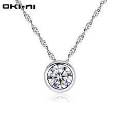 OKI-NI sterling 925 silver necklace 2017 women rhinestone choker necklaces & pendants collier bijoux necklace femme Short chain