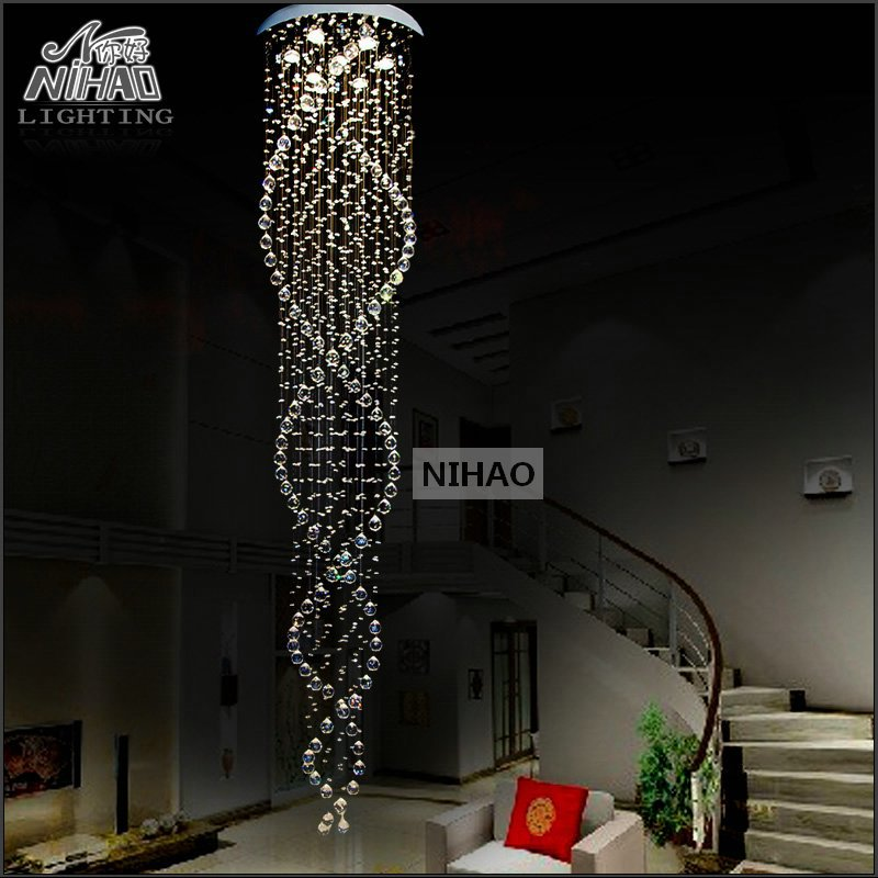 Spiral Crystal Chandelier Light Fixture Long Crystal Stair Lamp Flush Mounted Stair Light Fitting for staircase villa