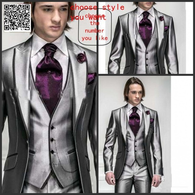 Custom Made Top Quality Silver Suits Formal Groom Tuxedo for 4 ...