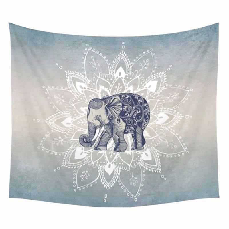 1 ps 150x130 cm Bohême Mandala Couvertures Tapisserie Éléphant Tenture Couverture Dortoir Décor À La Maison Mandalas Natte De Plage