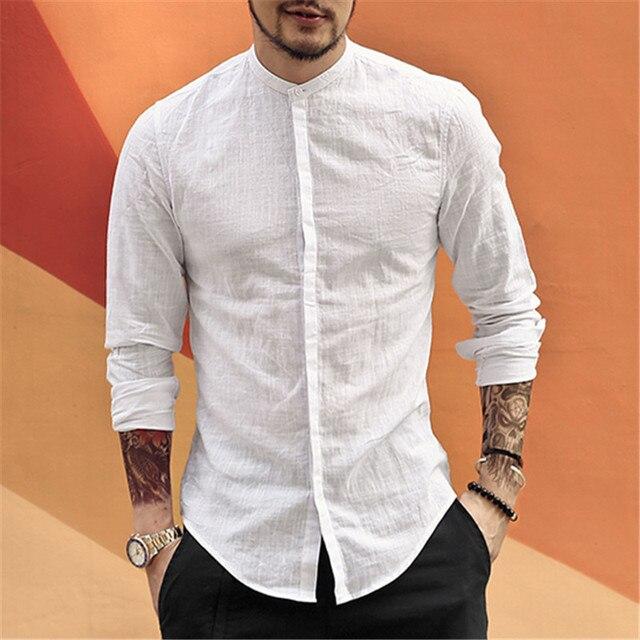 Gola Mandarim Camisa De Linho De Algodão Homens casuais Designer de Marca Fino Homem Apto Camisas de Manga Longa Camisas Brancas Homem verão S2105
