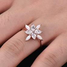 Huitan Romantic Flower Shaped Ring For Women Cute Cherry Anniversary With Cubic Zircon&Simulated Opal Fashion Jewelry