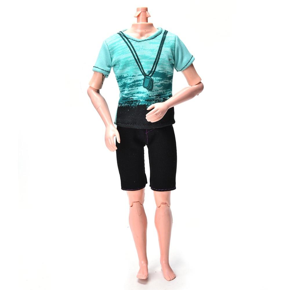 2Pcs/Set Fashion Black Short Pants Green T Shirt Suit For Barbie Doll Clothes Summer Handmade