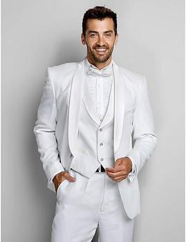 Shawl Collar Classic White Men Suits Groomsmen Tuxedos For Beach Wedding Men's Casual Party Wear (Jacket+Pants+Vest+Bow)