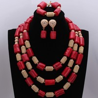 Original Red Coral Beads and Gold Large Design Earrings Necklace Jewelry Set Party Bridal Dubai Jewelry Set New Arrivals L