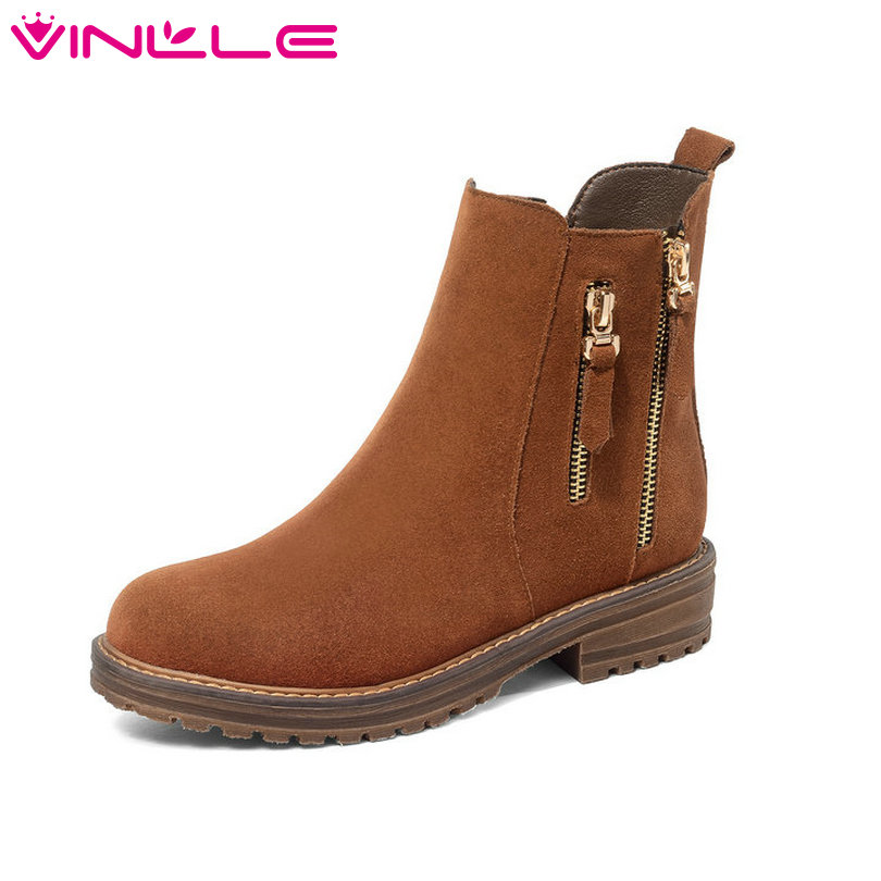 VINLLE 2019 Winter Fashion Shoes Woman Ankle Boots Square