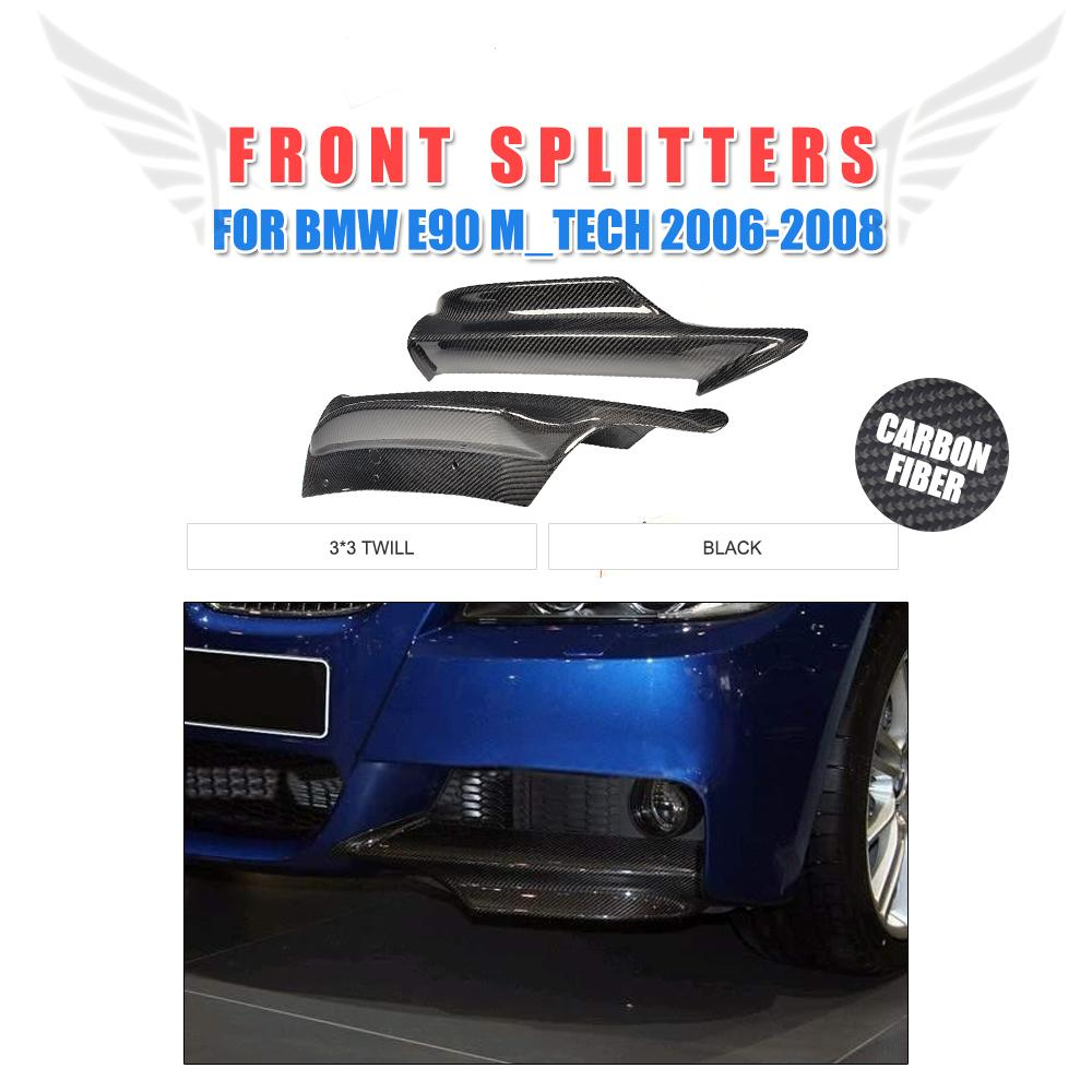 Carbon Fiber Front Bumper Lip Splitters For BMW 3 Series E90 M Tech M Sport Bumper 2006-2008 2PCS/Set