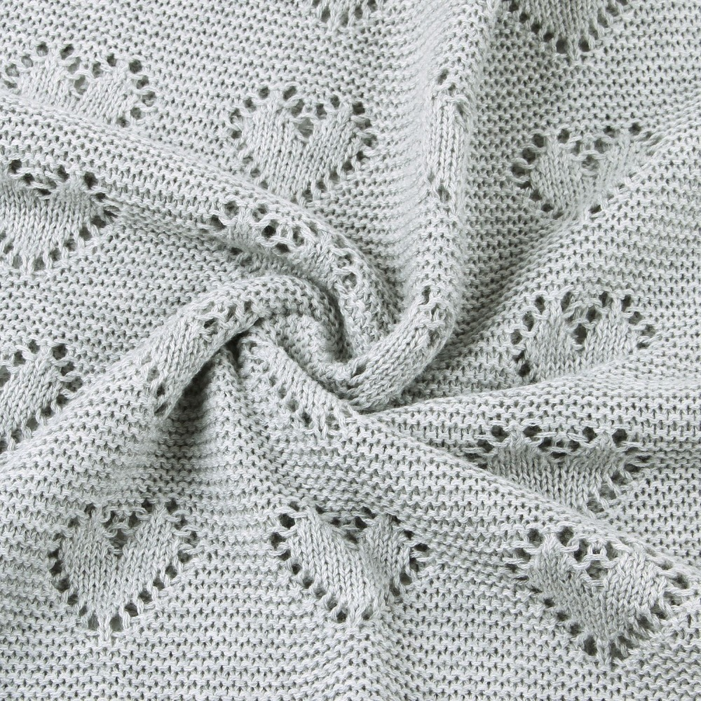 Image 5 - 80X100cm Cotton knitted crochet heart hollow thin summer wrap Baby knitted Blanket Toddler kids back seat cover stroller cover-in Blanket & Swaddling from Mother & Kids