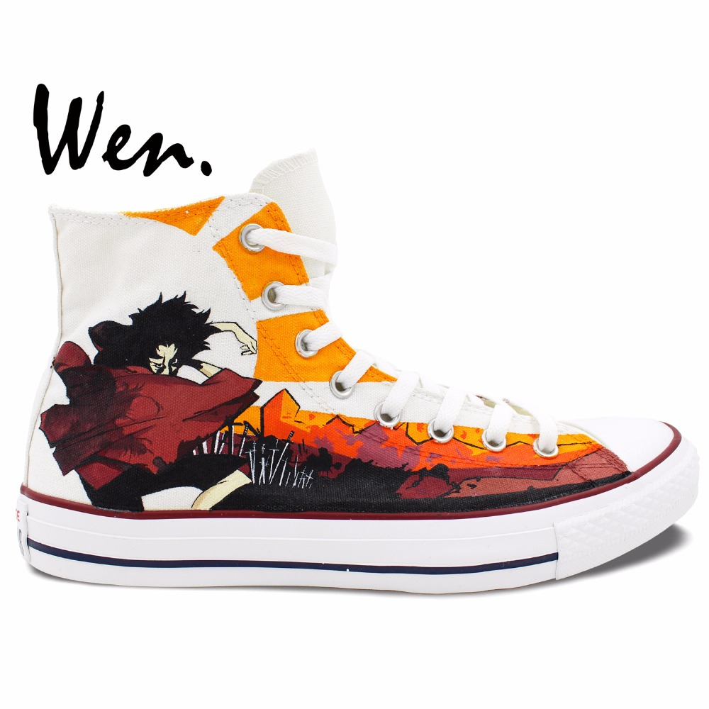 Wen Hand Painted Shoes Samurai Champloo Anime Design Custom Men Women's High Top Canvas Sneakers For Boys Girls Gifts