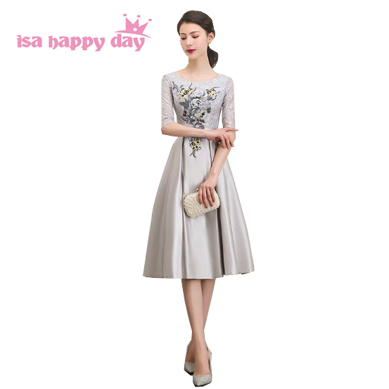 women short lace satin pretty sleeved bridesmaid gray bridemaid dress tea length party dresses for wedding guests H4287