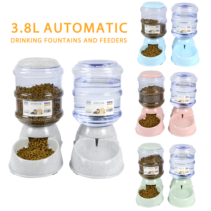 Pet 3.8L Large Automatic Dog Feeder Drinking Fountain For Cats Dogs Environmental Plastic Pets Water Dispenser Dog Food Bowl