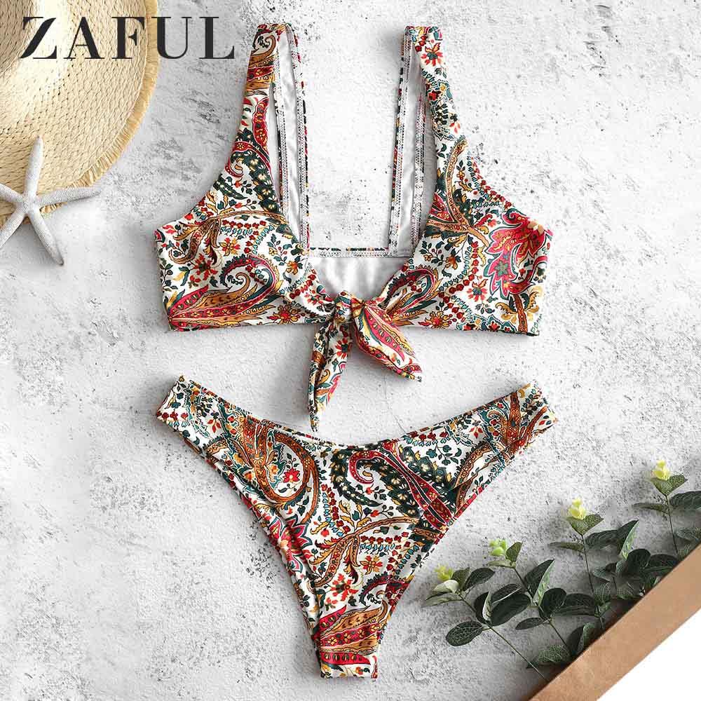 ZAFUL Bohemian Flower Tied Bikini Set Knotted Plunging Neck Floral Wire Free Padded Swimwear Women Swimsuit Bathing Suit 2019