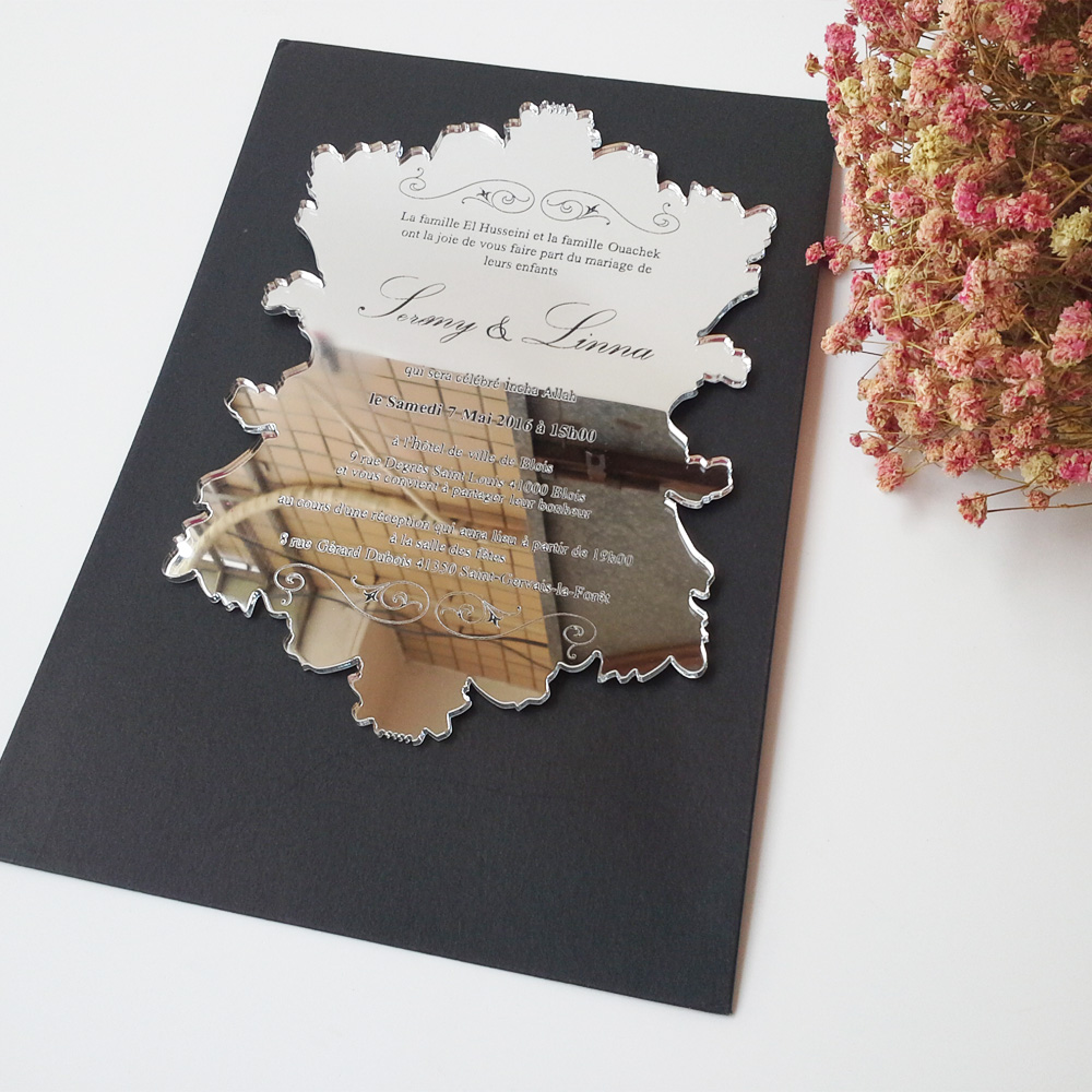 Aliexpress Buy Sample Order For 57inch Vintage Leaf Shape Silver Mirror Acrylic Wedding Invitation Card From Reliable Invitations