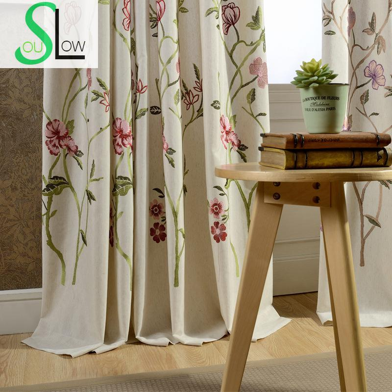 Flowers Cotton Embroidery Curtain Fabric Study Room