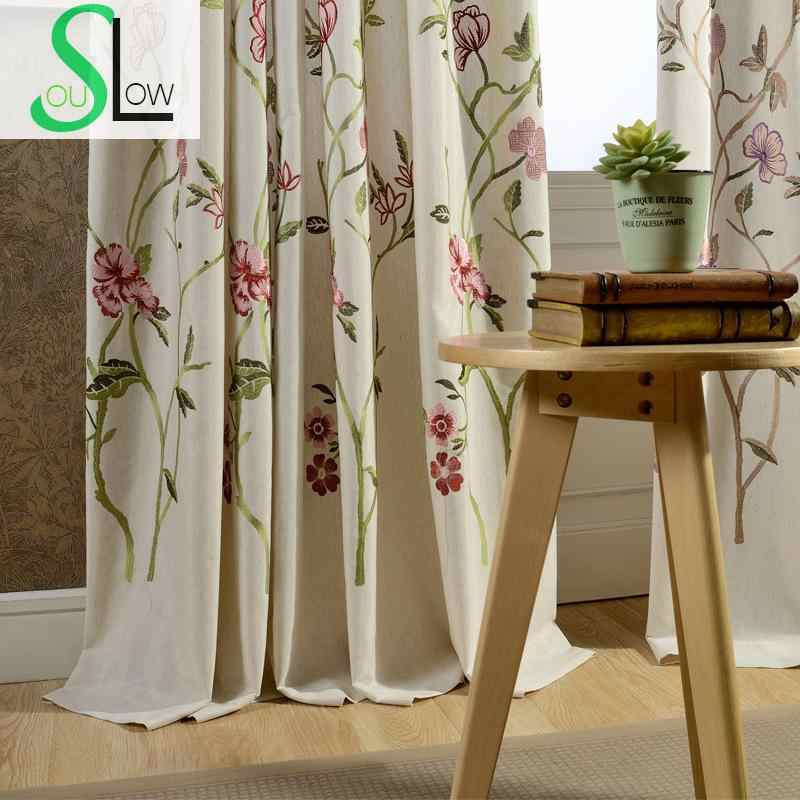 Flowers Cotton Embroidery Curtain Fabric Study Room Curtains