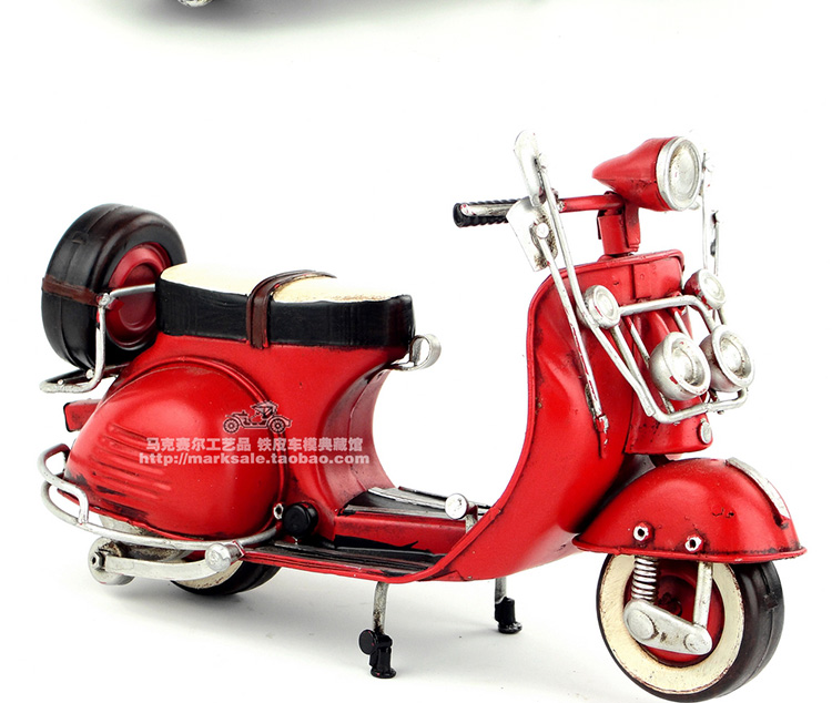 d72191f4df3 Vespa model Car 1955 Italy vintage metal toy blue red motorcycle toys hot  wheel 1