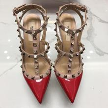 8e054e8c8d0e5 New Hot red Women Platform Pumps Ladies Sexy Round Toe Rivet High Heels  Shoes Fashion Buckle