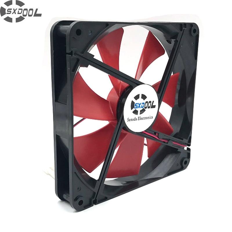 SXDOOL high quality Best silent quiet 140mm pc case cooling fans 14cm DC 12V 4D plug computer coolers