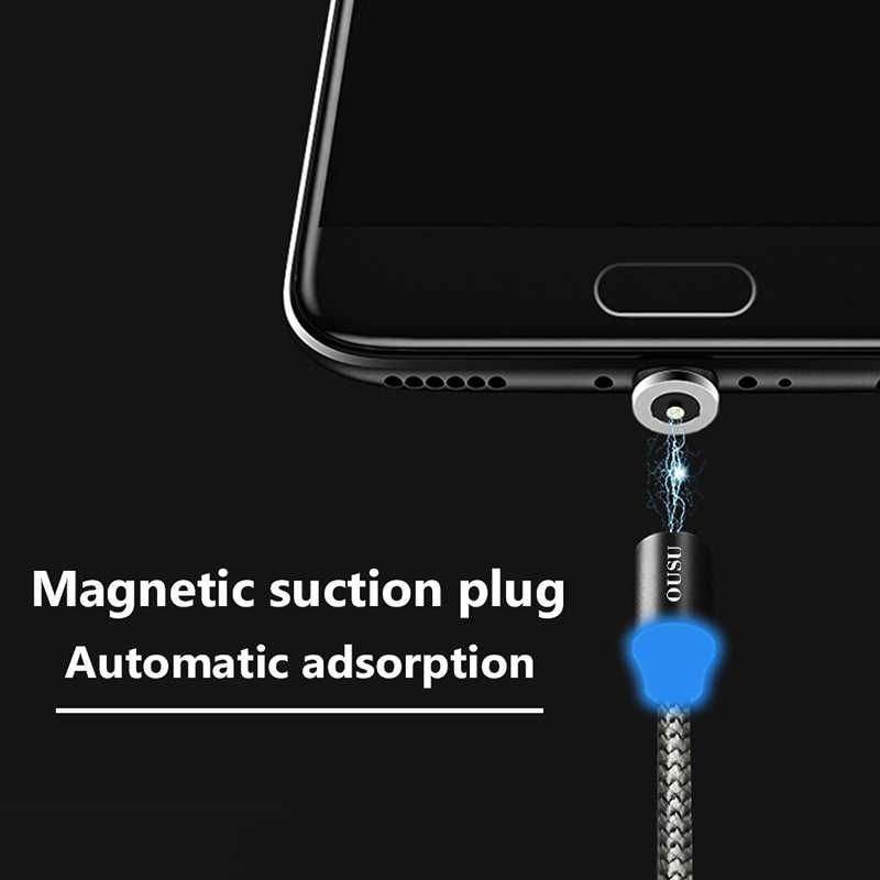 OUSU 2.4A Nhanh Cáp Sạc Từ Tính Dây Cáp Cho iPhone XR XS 7 8 Cho Cáp Lightning Loại C Micro USB từ tính Sạc Android