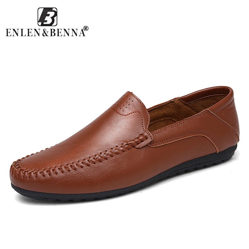 Big Size Breathable Loafers Men Leather Slip On Sneakers Male Moccasins Flats Genuine Leather Causal Men Boat Shoes Adult Summer