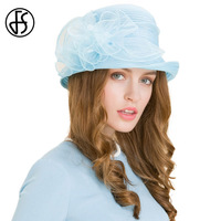 Light Blue Organza Wedding Dress Summer Hat For Women Church Curl Brim Fedora Hats Lady Elegant