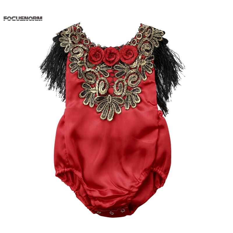 Newborn Infant Baby Girl Romper Floral Sunsuit Summer Clothes Outfits Baby Girl Flower Tassel Romper Red
