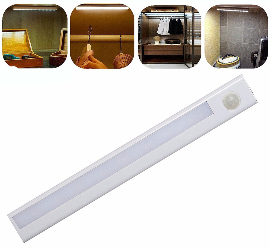 ZINUO Motion Sensor Night Light White Portable Wireless 8 LEDs Battery Operated Cabinet Lamp For Closet Stiars Kitchen Bedroom