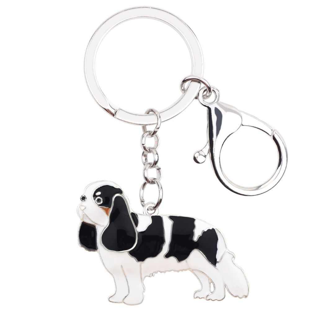 Bonsny Men Kim Loại Cavalier King Charles Spaniel Dog Dây Đeo Chìa Khóa Keychain Nhẫn Phim Hoạt Hình Đồ Trang Sức Cho Phụ Nữ Cô Gái Túi Xách Xe Quyến Rũ