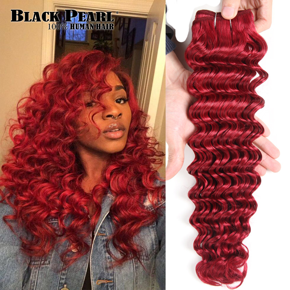 Bundles Hair-Extensions Brazilian-Hair Deep-Wave Black Pearl Weave Remy Human Ombre 113g title=