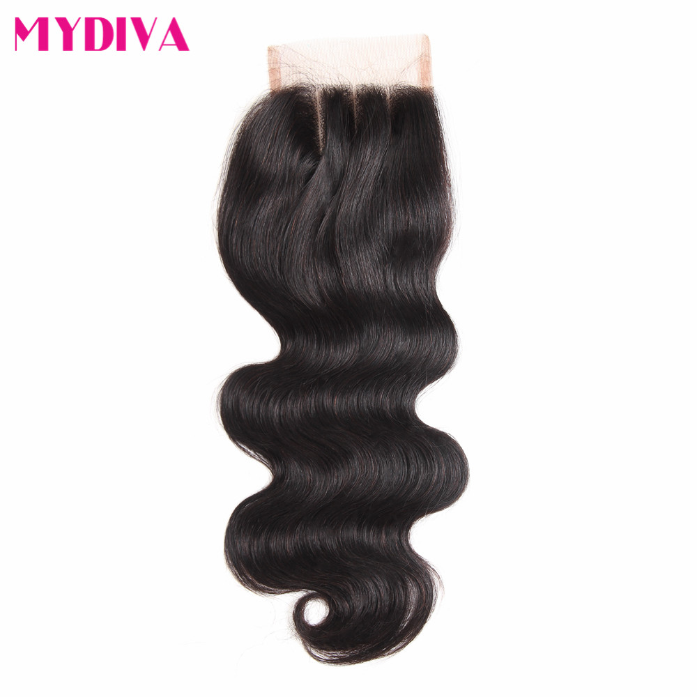 Brazilian Body Wave Closure Swiss Lace Middle Part Non Remy Human Hair Lace Closure With Baby Hair 130% Density 10-20 Inch