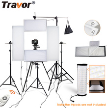 Travor photo studio 4in1 flexible LED video light 2.4G Remote Control dimmable 5500K studio light photography light with tripod цена и фото