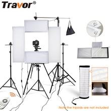 лучшая цена Travor photo studio 4in1 flexible LED video light 2.4G Remote Control dimmable 5500K studio light photography light with tripod