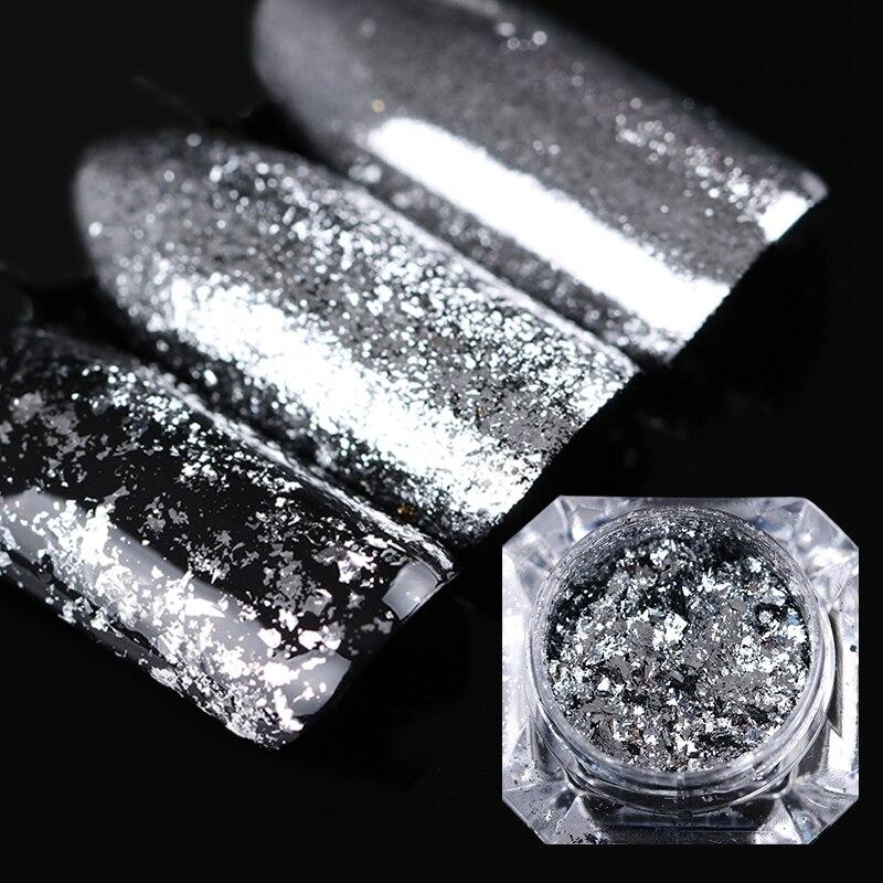0.2g Zilveren Vlokken Nail Art Pailletten Glitter Aluminium Magic - Nagel kunst - Foto 5