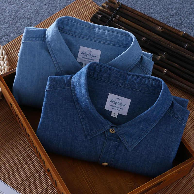 2019 Schinteon 夏メンズ綿 100% シャツ半袖薄型スリムカジュアルデニムスラブ綿快適なシャツ新到着