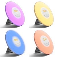 Creative RGB Sunrise Simulation Alarm Clock Light Touch Induction Digital Wake Up LED Lamp With FM
