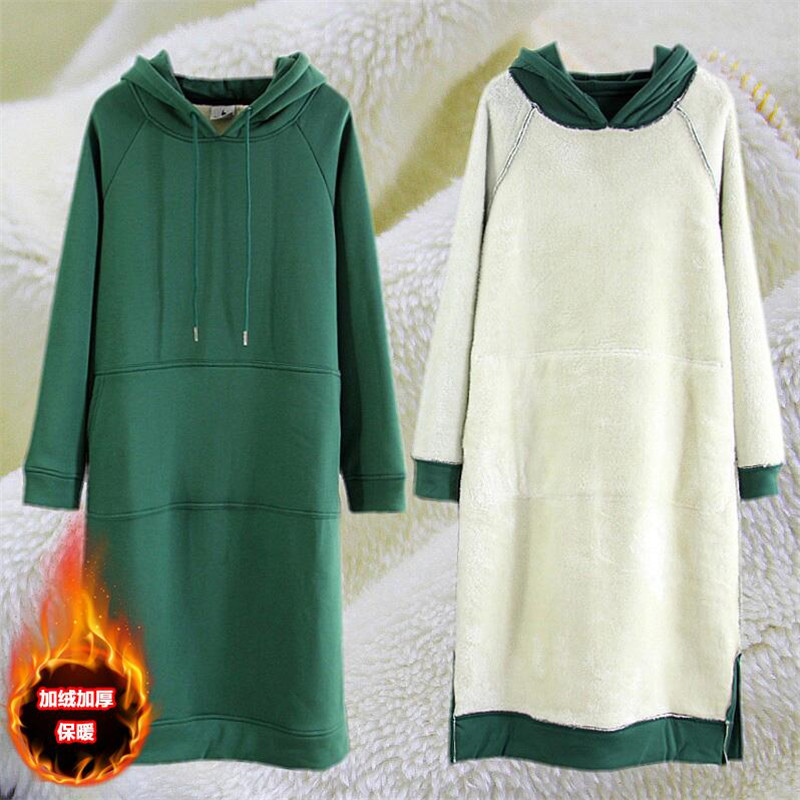 2019 Autunm winter fashion thicken Slimming Long dress Casual Solid Color basic long dresses warm hooded