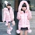 Casacos de inverno Meninas Crianças Algodão-acolchoado Casacos Com Capuz De Pele Gola Meninas Outerwear com bolas 5-12Year